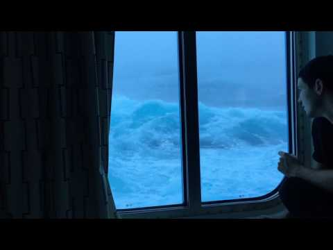 Theresa - How Is He So Calm? 30 Ft Waves Crash Into Cruise Ship (Video)