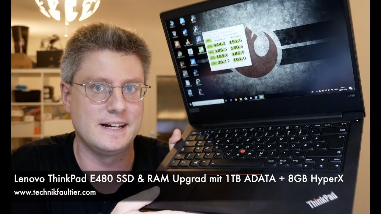 Lenovo ThinkPad E480 SSD & RAM Upgrade mit 1TB ADATA + 8GB HyperX
