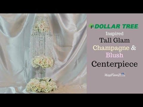 DIY Tall Glam Champagne and Blush Wedding Centerpiece| Glam on a Budget| DIY Tutorial