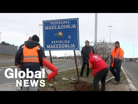 North Macedonia signs installed on border with Greece