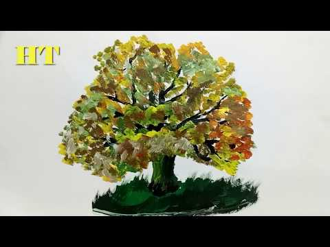 How to paint a tree in Acrylic lesson 1