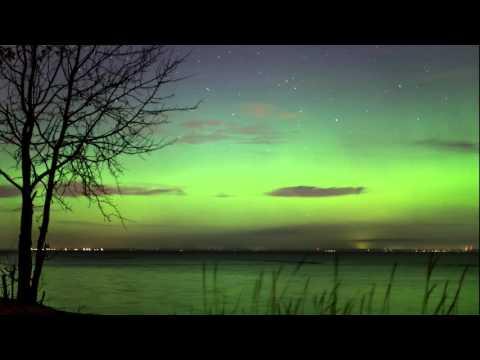 Northern lights over the island Kotlin (Kronstadt, St  PETERSBURG) 4K