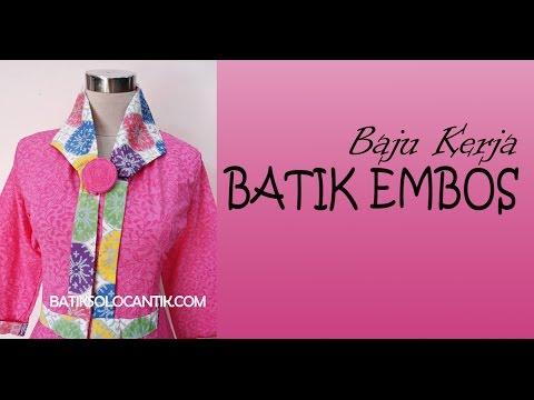 Baju Kerja Modern Model Batik Emboss Terbaru
