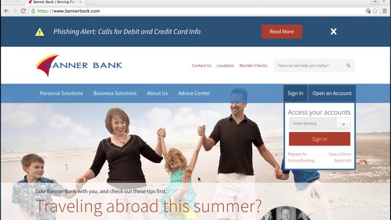 banner bank online banking login instructions  youtube