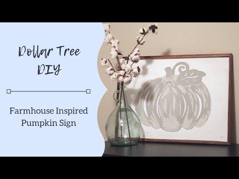 Farmhouse Wood Sign & Neutral Pumpkins | DIY Fall Decor