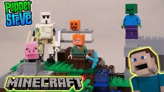 Minecraft LEGO The Iron Golem Set 2017 Building Toy 21123 Unboxing Review Puppet Steve