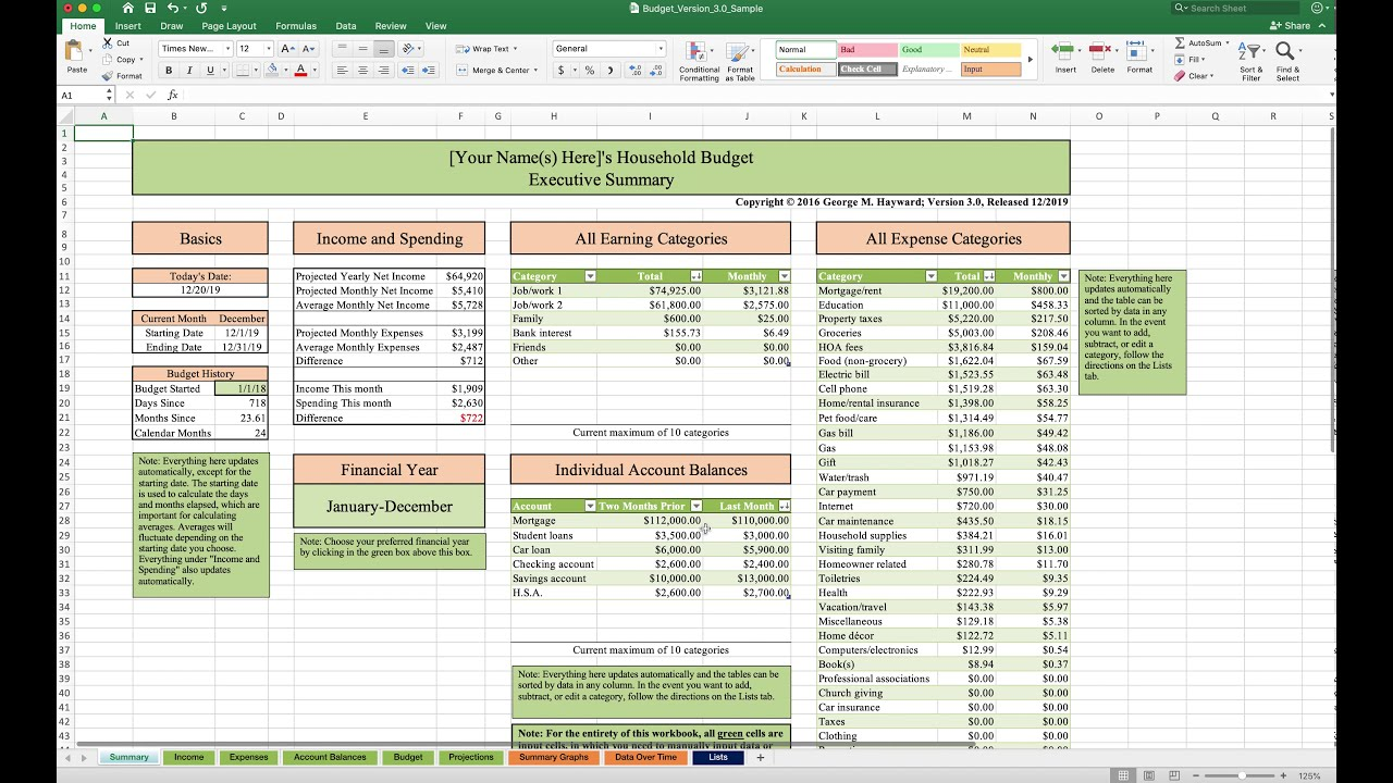 household budget template and tutorial  excel  2020 update