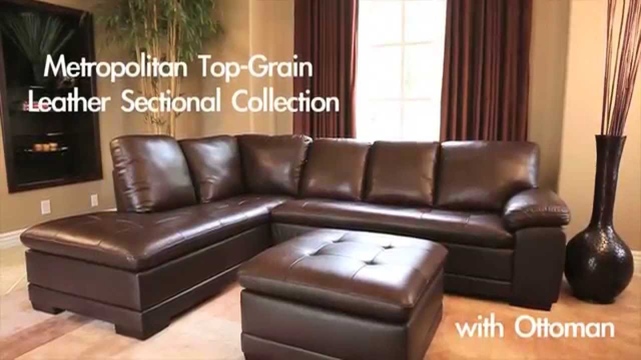 Abbyson Living   Dark Brown Leather Sectional Set
