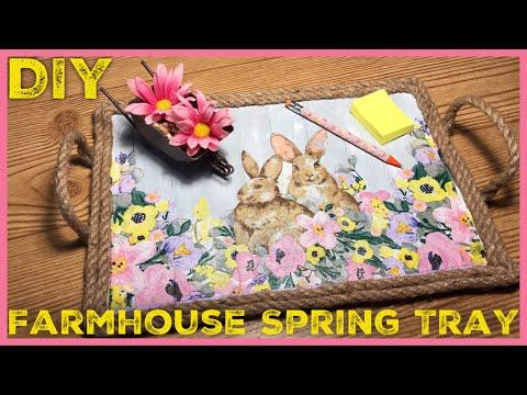 DIY Rustic Farmhouse Spring / Easter Decor Tray - Dollar Tree / Walmart DIY