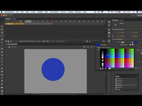 Adobe Animate CC 2017 Animating Colour Using Shape Tween For Beginners