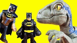 Batman & Owen Get Rescued By Dino Rivals Jurassic World Dinosaur Velociraptor Blue Toy