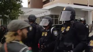 Protests at Portland ICE facility draw federal agents in riot gear