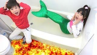 マグマだー!! 人魚が助けてくれる??? マグマ 目玉焼き バービーラジコン おゆうぎ mermaid lava こうくんねみちゃん