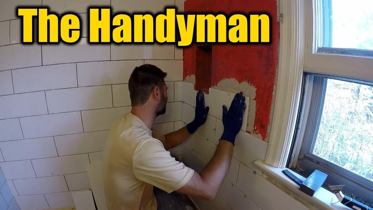 1940s Bathroom Remodel Cutting And Installing Tile The Handyman Youtube