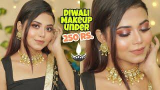 Affordable Full Glam Diwali Makeup Tutorial   Makeup Under Rs. 250