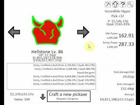 Idle Mine GamePlay #2 Hellstone 98 36000 Gems 15,546b Pick