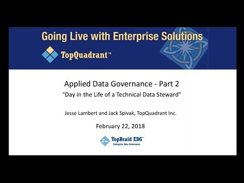 Applied Data Governance Part 2  – A Day in the Life of a Technical Data Steward FINAL