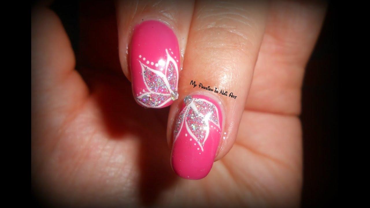 Fiori Nail Art.Elegant Simple Glitter Flowers Tutorial Nail Art Fiori
