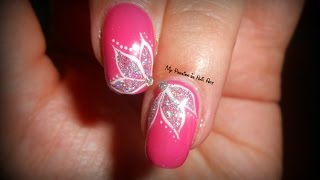 Elegant simple glitter flowers tutorial nail art fiori glitterati