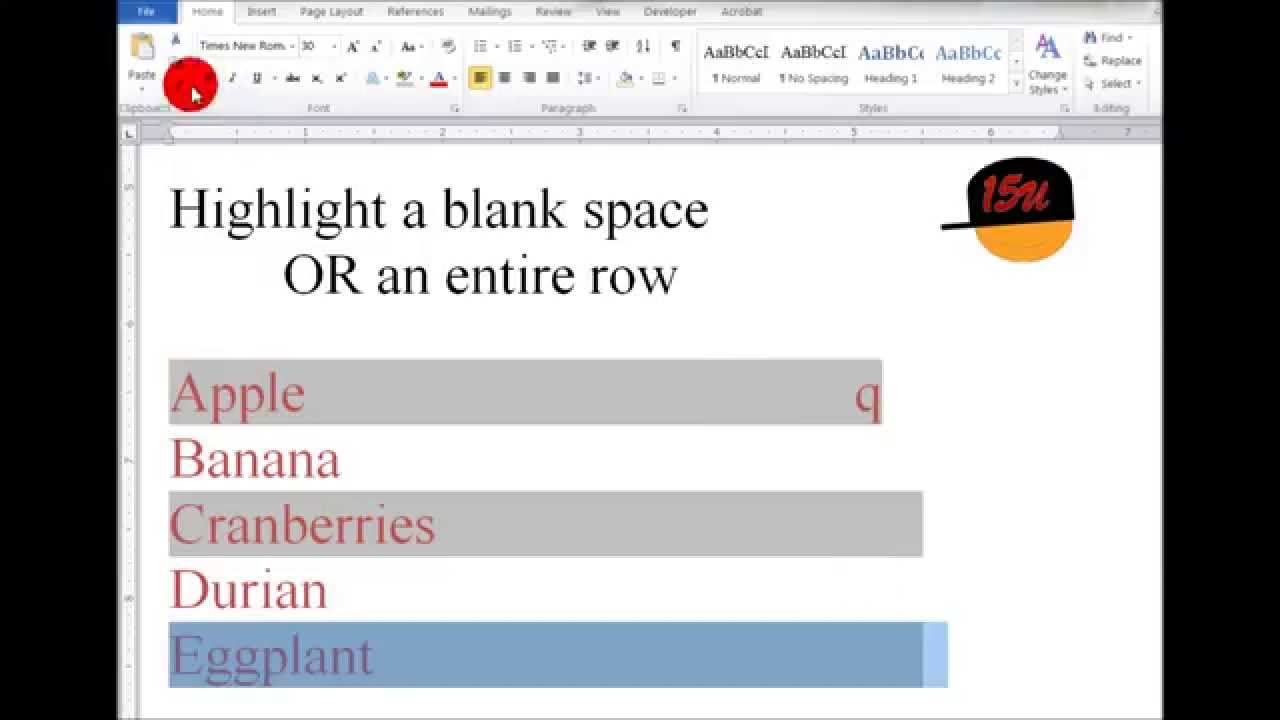 word highlight a blank space or an entire row youtube