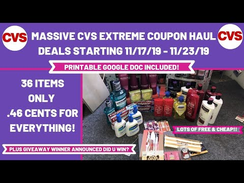 MASSIVE CVS EXTREME COUPON HAUL DEALS STARTING 11/17/19|36 ITEMS ONLY .46 CENTS FOR EVERYTHING 😱
