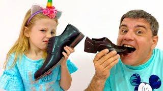 Nastya und Papa Geschichte über schädliche Süßigkeiten