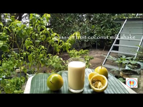passion fruit coconut milkshake/passion fruit coconut milk juice/passion fruit coconut milk mocktail
