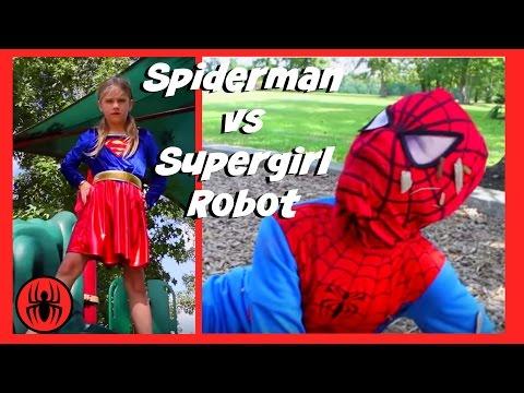 Little Heroes Spiderman Vs Supergirl Robot In Real Life | New Superheroes Battle | Super Hero Kids 4