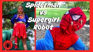 Little Heroes Spiderman vs Supergirl Robot in Real Life | New Superheroes Battle | Super Hero Kids 4