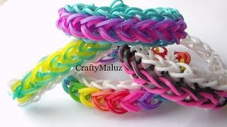 Repeat youtube video Como Hacer Pulsera de Gomitas Gotas De lluvia / How to make the rainbow loom Raindrop bracelet