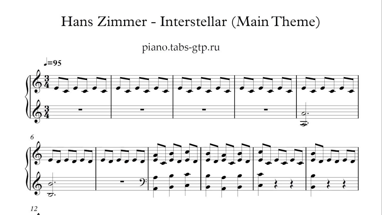 Connu Hans Zimmer - Interstellar - Ноты для Фортепиано - YouTube OR91