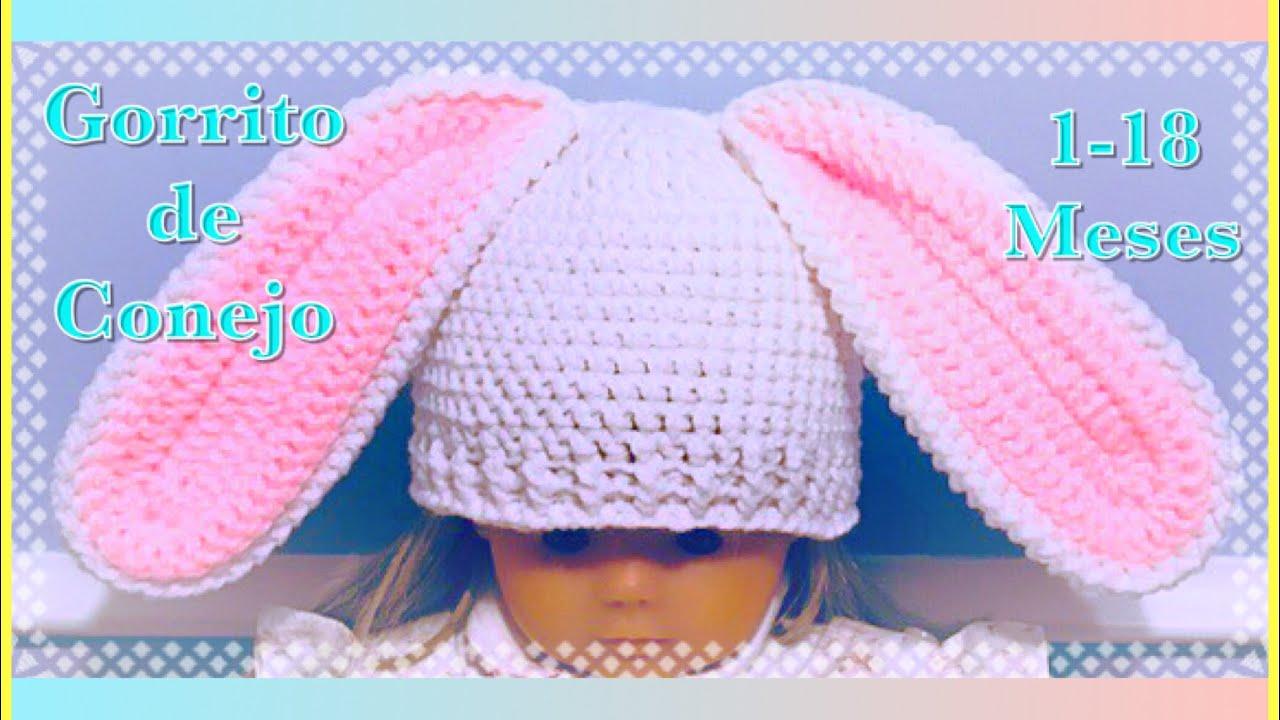 6a468be1d2008 Gorrito con orejas de conejo para bebe   niño  niña en gancho o a crochet   122