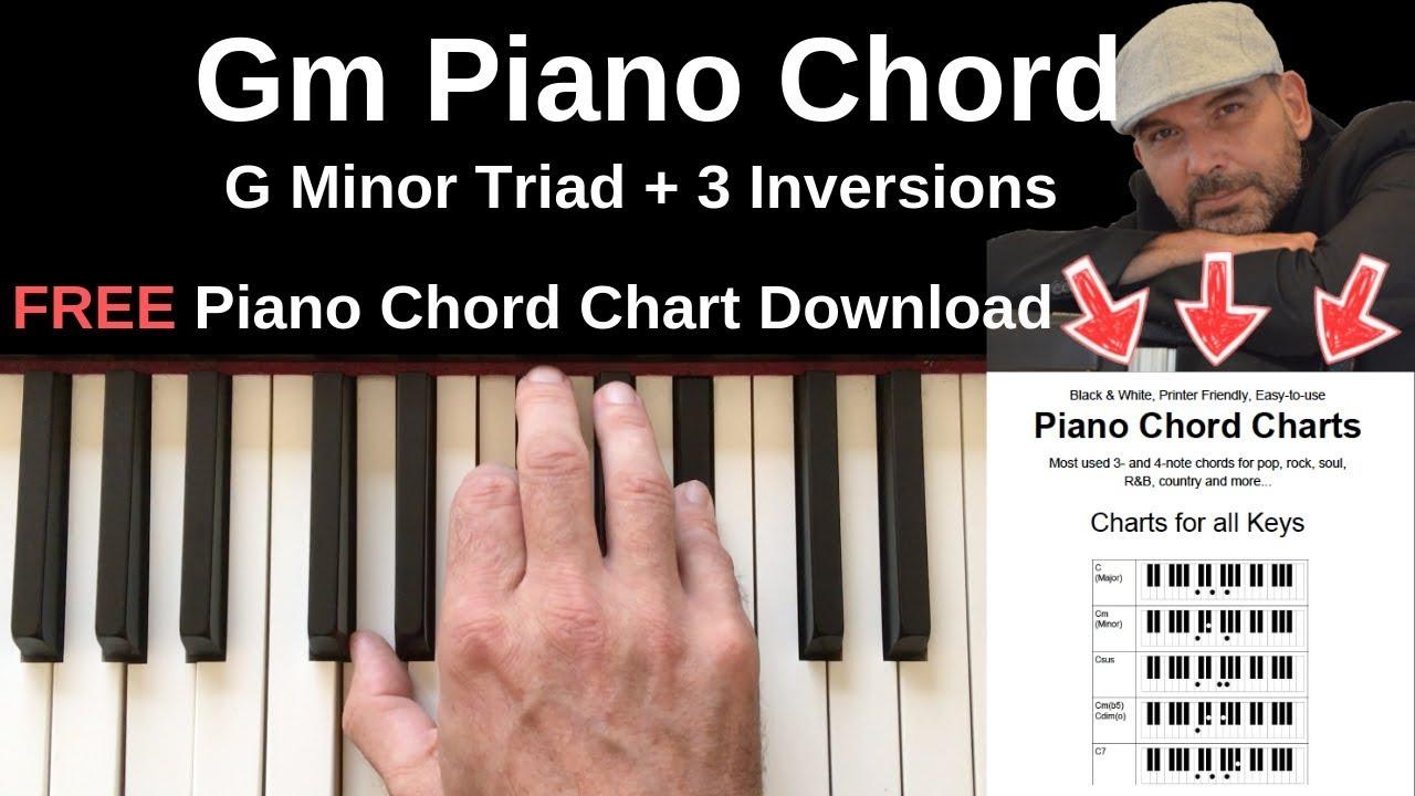 Gm Piano Chord   G Minor Triad + Inversions Tutorial + FREE Chord Chart