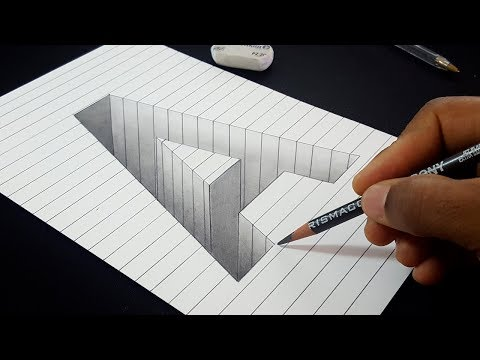 easy-drawing!-how-to-draw-3d-hole-letter-a-shape-in-line-paper- -3d-art-for-kids