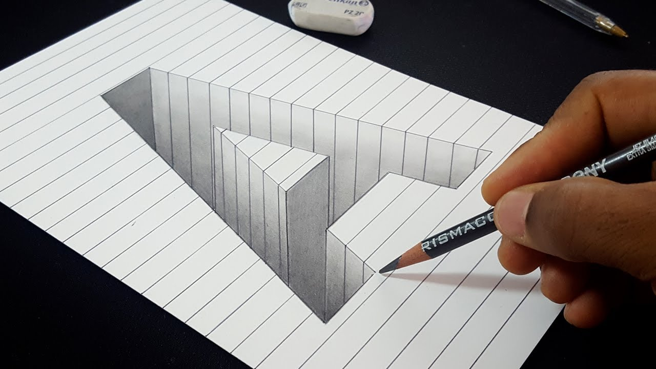 3d Shape Line Drawings : Easy drawing how to draw d hole letter a shape in line