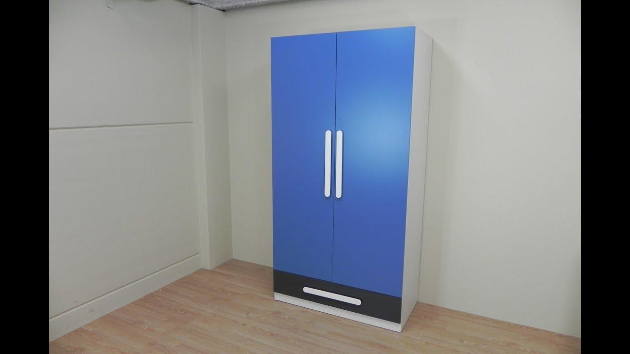 Descatalogado - Armario juvenil dos puertas, color azul y grafito ...