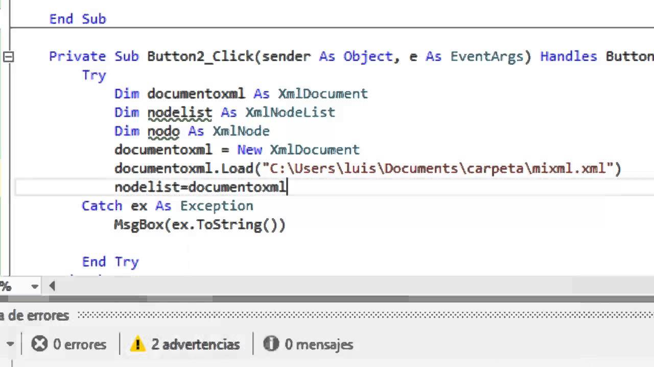 Leer Archivo XML desde Visual Basic .NET - YouTube