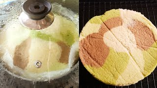 เค้กชิฟฟ่อน ลายทหาร สูตรนึ่ง Steam Chiffon Cake |Krua Maenai|ครัวแม่นาย