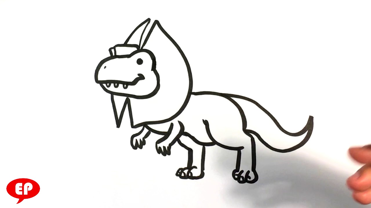 How To Draw A Cute Dinosaur Dilophosaurus Easy Pictures To Draw