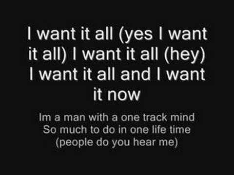 Queen I want it all + Lyrics