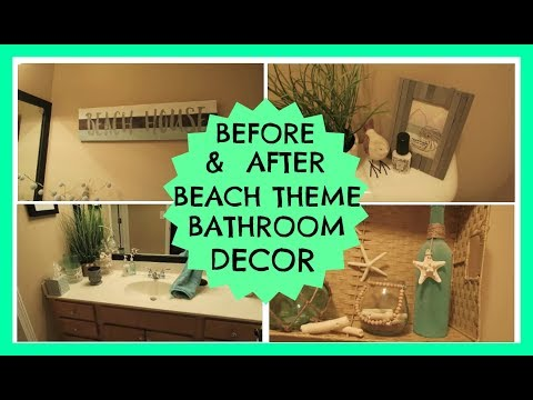 Before & After Beach Theme Bathroom Decor | June 2017