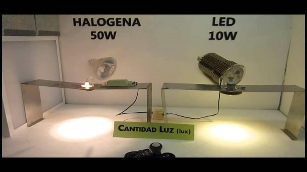Comparativa LED vs Halogena Consumo W  LuzLux