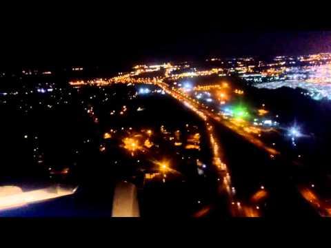 Night approach and landing Memphis International Airport