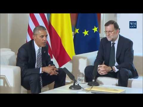 President Barack Obama and Interim President Mariano Rajoy in Madrid, Spain
