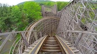 4K AWESOME Twister Roller Coaster Front Seat POV Knoebels Amusement Park