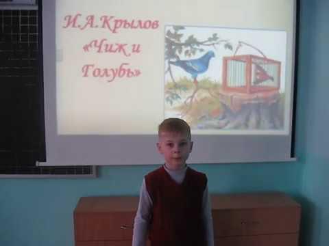 Изображение предпросмотра прочтения – КочергинВладислав читает произведение «Чиж и Голубь» И.А.Крылова