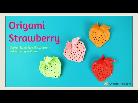 Paper Crafts - Origami Strawberry Tutorial - Origami Tutorial - Easy Crafts