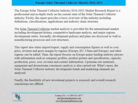 Europe Solar Thermal Collector Market Report 2016