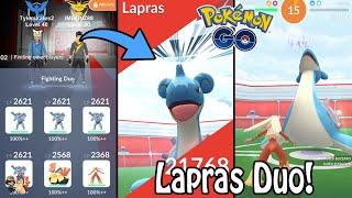 Pokémon GO | Lapras Raid Boss DUO/2 MAN! (Level 4) | Cloudy Weather Boost | Gym Raids Ep. 27