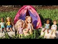 CAMP ! Elsa And Anna Toddlers - Camping - Barbie Iscounselor - Outdoorsactivities